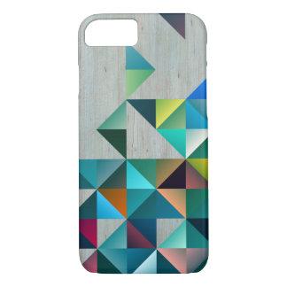 Capa iPhone 8/ 7 Triângulos coloridos de madeira louros resistidos