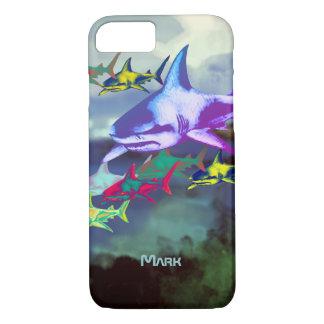 Capa iPhone 8/ 7 tubarões legal selvagens coloridos