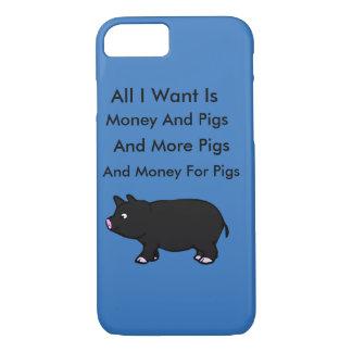 Capa iPhone 8/ 7 Tudo I Want é dinheiro e porcos
