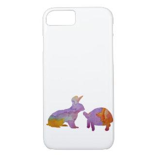 Capa iPhone 8/ 7 Um coelho e uma tartaruga