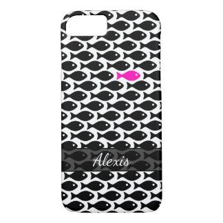 Capa iPhone 8/ 7 Um peixe cor-de-rosa de néon em um mar do preto no