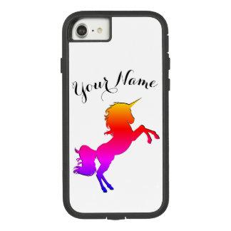 Capa iPhone 8/ 7 Unicórnio do arco-íris com nome personalizado