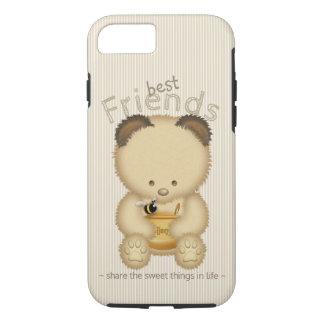 Capa iPhone 8/ 7 Urso e abelha de mel bonito dos melhores amigos