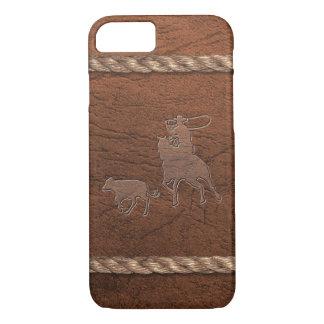 Capa iPhone 8/ 7 Vaqueiro do rodeio - Roping, couro & corda da
