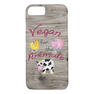 """Capa iPhone 8/ 7 """"Vegan para os animais"""" com porco bonito, vaca &"""