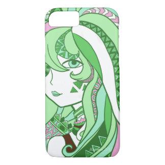 Capa iPhone 8/ 7 Verde colorido da menina dos desenhos animados do
