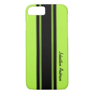 Capa iPhone 8/ 7 Verde limão moderno que compete listras com nome