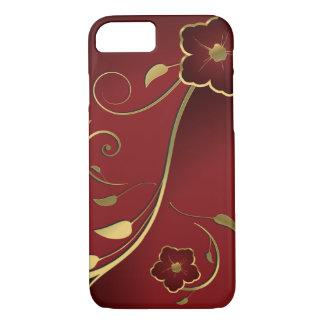 Capa iPhone 8/ 7 Vermelho bonito & belas artes florais do ouro