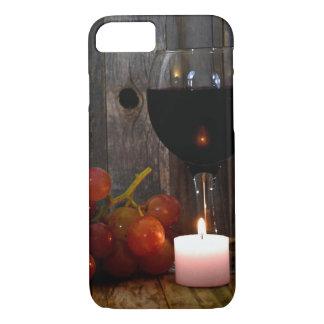Capa iPhone 8/ 7 vidro e vela de vinho com uvas