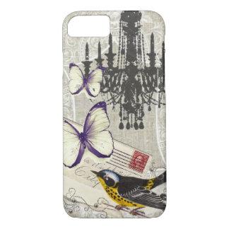 Capa iPhone 8/ 7 Vintage moderno do pássaro da borboleta do