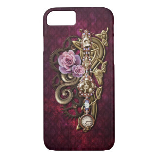Capa iPhone 8/ 7 Vintage Steampunk feminino floral