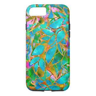 Capa iPhone 8/ 7 vitral abstrato floral resistente do caso do