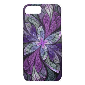 Capa iPhone 8/ 7 Vitral floral abstrato do roxo