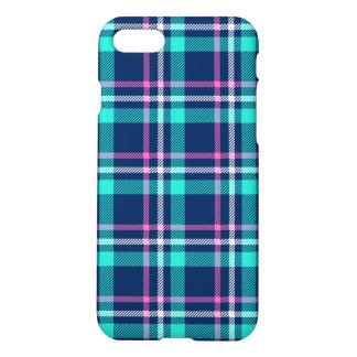 Capa iPhone 8/7 Xadrez azul e cor-de-rosa