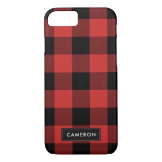 Capa iPhone 8/ 7 Xadrez da verificação do búfalo vermelho e preto -
