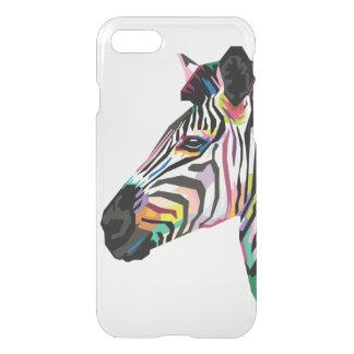 Capa iPhone 8/7 Zebra colorida do pop art no fundo branco