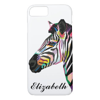Capa iPhone 8/ 7 Zebra colorida personalizada do pop art