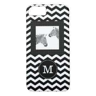 Capa iPhone 8/ 7 Zebras monograma branco preto de Chevron e de
