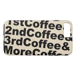 Capa iPhone 8 Plus/7 Plus 1stCoffee&2ndCoffee&3rdCoffee&MoreCoffee! (preto)