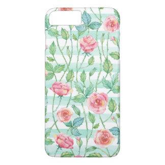 Capa iPhone 8 Plus/7 Plus A aguarela da hortelã listra rosas cor-de-rosa
