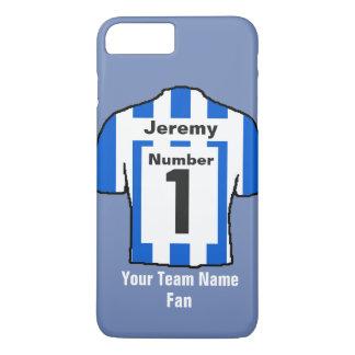 Capa iPhone 8 Plus/7 Plus A camisa azul e branca do futebol escolhe o nome e