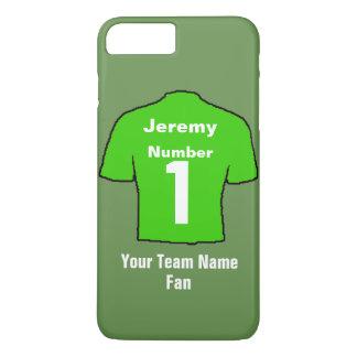 Capa iPhone 8 Plus/7 Plus A camisa verde do futebol personaliza o nome & a