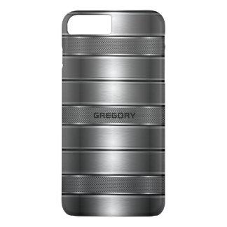 Capa iPhone 8 Plus/7 Plus A cinza metálica moderna listra o teste padrão M