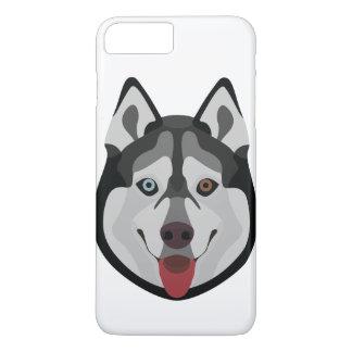 Capa iPhone 8 Plus/7 Plus A ilustração persegue o rouco Siberian da cara