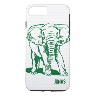 Capa iPhone 8 Plus/7 Plus A lápis bonito desenho do elefante do verde de