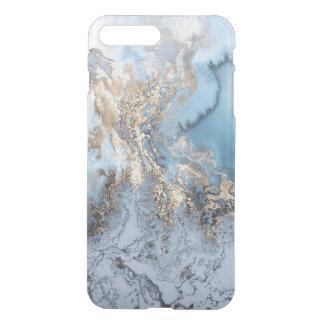 Capa iPhone 8 Plus/7 Plus Abstrato dourado de mármore iPhone7 do azul mais o