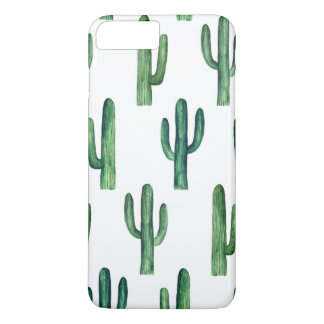 Capa iPhone 8 Plus/7 Plus Aguarela do cacto. Botânico verde. Moderno