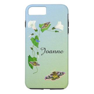 Capa iPhone 8 Plus/7 Plus Aguarelas da flor da corriola da traça de falcão