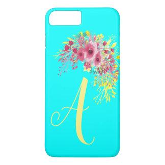 Capa iPhone 8 Plus/7 Plus Amarelo azul e Boho do Aqua Monogrammed florais