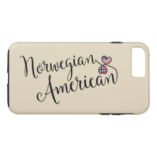 Capa iPhone 8 Plus/7 Plus Americano norueguês caso entrelaçado do telemóvel