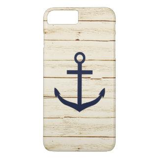 Capa iPhone 8 Plus/7 Plus Âncora azul de madeira do falso branco