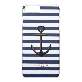 Capa iPhone 8 Plus/7 Plus Âncora de bronze náutica dos azuis marinhos feitos