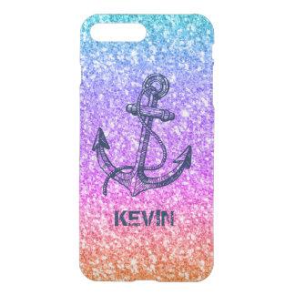 Capa iPhone 8 Plus/7 Plus Âncora náutica da textura colorida do brilho