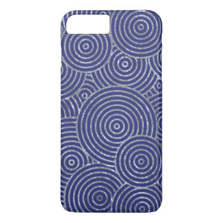 Capa iPhone 8 Plus/7 Plus Anéis legal da folha de prata do azul e do falso