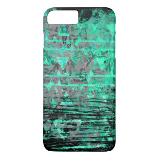 Capa iPhone 8 Plus/7 Plus Aqua legal e Grunge tribal cinzento dos triângulos