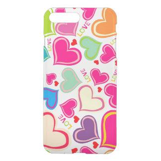 Capa iPhone 8 Plus/7 Plus arte colorida bonita do vetor dos corações do amor