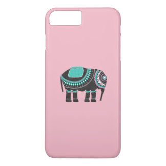 Capa iPhone 8 Plus/7 Plus Arte preta ornamentado do elefante, rosa bonito