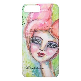 Capa iPhone 8 Plus/7 Plus Artístico colorido da menina feericamente lunática