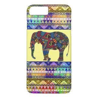 Capa iPhone 8 Plus/7 Plus (asteca brilhante colorido do elefante)