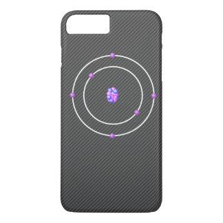 Capa iPhone 8 Plus/7 Plus Átomo de carbono com fundo da fibra do carbono