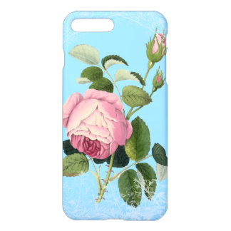 Capa iPhone 8 Plus/7 Plus Azul floral laçado de China do rosa antiquado do