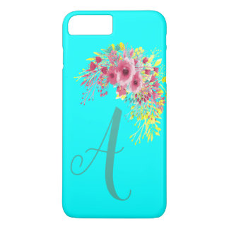 Capa iPhone 8 Plus/7 Plus Azul Monogrammed e Boho do Aqua florais