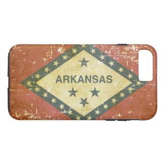 Capa iPhone 8 Plus/7 Plus Bandeira patriótica gasta do estado de Arkansas