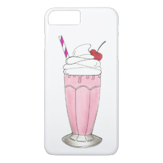 Capa iPhone 8 Plus/7 Plus Batido Foodie do rosa da morango da loja do