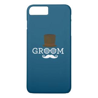 Capa iPhone 8 Plus/7 Plus Bigode & chapéu engraçados do noivo para o partido