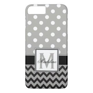 Capa iPhone 8 Plus/7 Plus Bolinhas e móbil cinzentos, pretos & brancos de